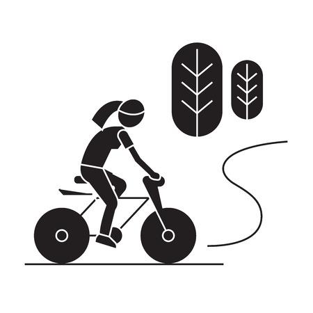 Illustrazione per Countryside bike ride black vector concept icon. Countryside bike ride flat illustration, sign, symbol - Immagini Royalty Free