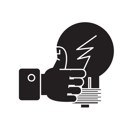 Illustration pour Good idea, hand with thumb up black vector concept icon. Good idea, hand with thumb up flat illustration, sign, symbol - image libre de droit