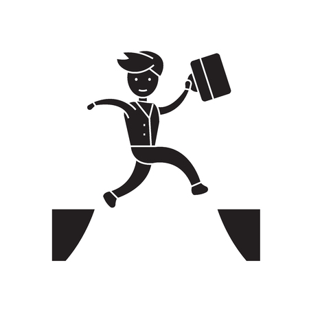 Ilustración de Jumping over black vector concept icon. Jumping over flat illustration, sign, symbol - Imagen libre de derechos