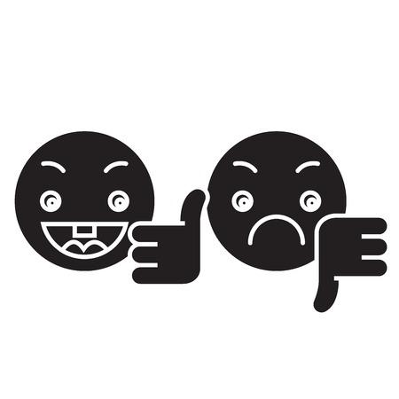 Illustration pour Thumbs up, down emoji black vector concept icon. Thumbs up, down emoji flat illustration, sign, symbol - image libre de droit