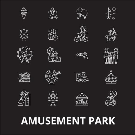 Illustration pour Amusement park editable line icons vector set on black background. Amusement park white outline illustrations, signs,symbols - image libre de droit