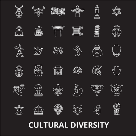Illustrazione per Cultural diversity editable line icons vector set on black background. Cultural diversity white outline illustrations, signs,symbols - Immagini Royalty Free