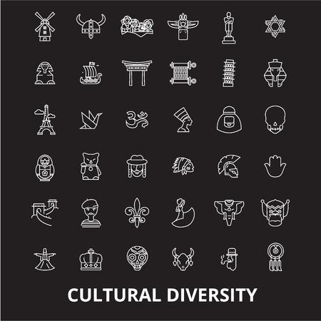 Illustration pour Cultural diversity editable line icons vector set on black background. Cultural diversity white outline illustrations, signs,symbols - image libre de droit
