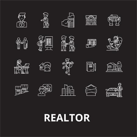 Illustration pour Realtor editable line icons vector set on black background. Realtor white outline illustrations, signs,symbols - image libre de droit