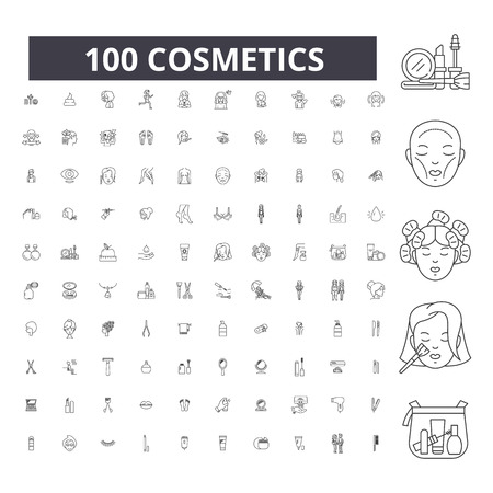 Illustration pour Cosmetics editable line icons, 100 vector set on white background. Cosmetics black outline illustrations, signs, symbols - image libre de droit