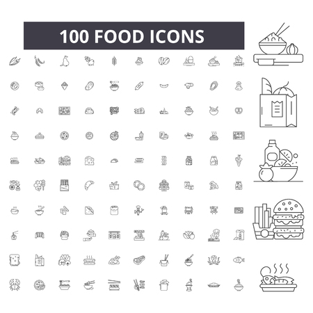 Illustration pour Food editable line icons, 100 vector set on white background. Food black outline illustrations, signs, symbols - image libre de droit