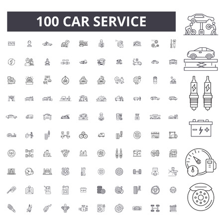 Illustration pour Car service editable line icons, 100 vector set on white background. Car service black outline illustrations, signs, symbols - image libre de droit