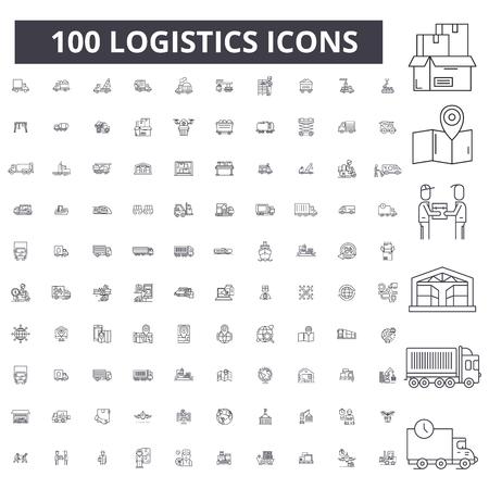 Illustration pour Logistics editable line icons, 100 vector set on white background. Logistics black outline illustrations, signs, symbols - image libre de droit