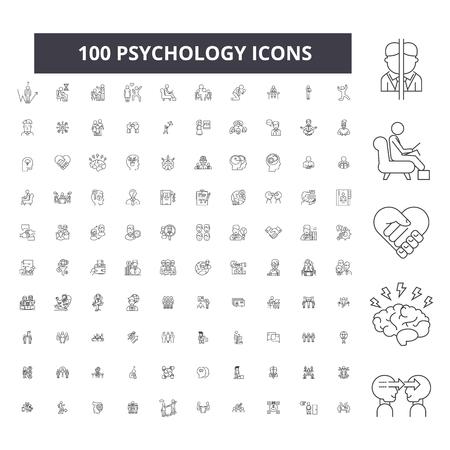 Illustration pour Psychology editable line icons, 100 vector set on white background. Psychology black outline illustrations, signs, symbols - image libre de droit