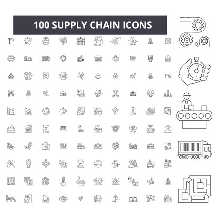 Ilustración de Supply chain editable line icons, 100 vector set on white background. Supply chain black outline illustrations, signs, symbols - Imagen libre de derechos