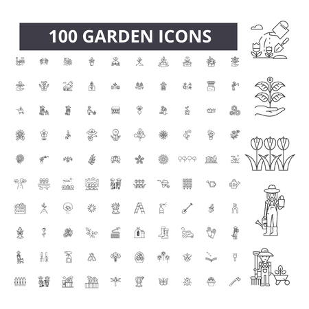 Illustration for Garden editable line icons, 100 vector set on white background. Garden black outline illustrations, signs, symbols - Royalty Free Image