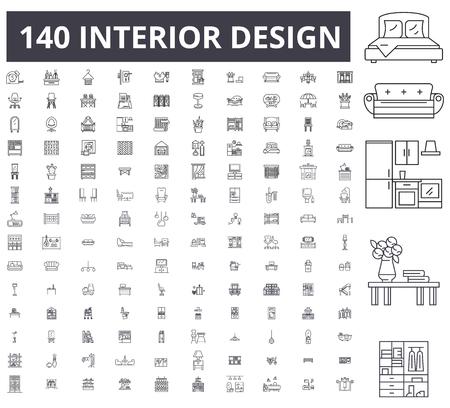 Illustration pour Interior design editable line icons, 100 vector set on white background. Interior design black outline illustrations, signs, symbols - image libre de droit
