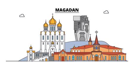 Illustration pour Russia, Magadan. City skyline: architecture, buildings, streets, silhouette, landscape, panorama. Flat line vector illustration. Russia, Magadan outline design. - image libre de droit