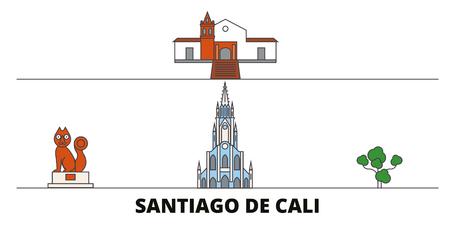 Ilustración de Colombia, Santiago De Cali flat landmarks vector illustration. Colombia, Santiago De Cali line city with famous travel sights, design skyline. - Imagen libre de derechos