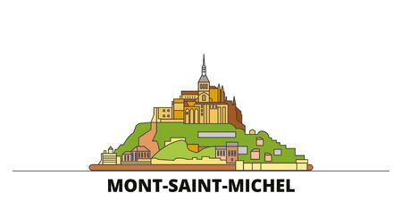 Illustration pour France, Mont Saint Michel And Its Bay flat landmarks vector illustration. France, Mont Saint Michel And Its Bay line city with famous travel sights, design skyline. - image libre de droit