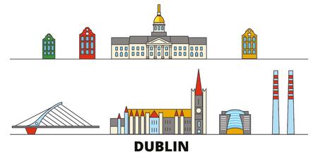 Ilustración de Irland, Dublin flat landmarks vector illustration. Irland, Dublin line city with famous travel sights, design skyline. - Imagen libre de derechos