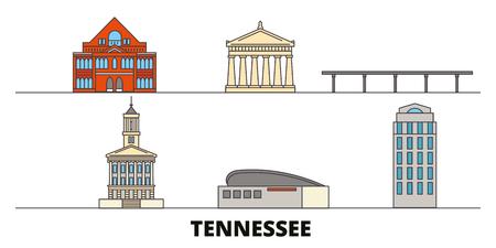 Ilustración de United States, Nashville flat landmarks vector illustration. United States, Nashville line city with famous travel sights, design skyline. - Imagen libre de derechos