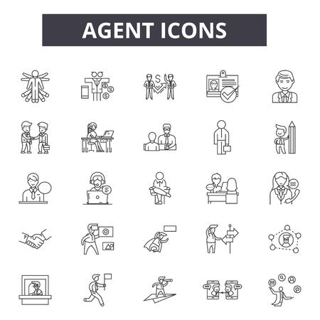 Illustration pour Agent line icons. Editable stroke. Concept illustrations: real estate, showing house, home, salesperson etc. Agent  outline icons - image libre de droit
