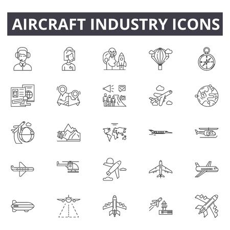 Illustration pour Aircraft industry line icons. Editable stroke. Concept illustrations: aviation, jet, airplane, aerial transport, flight etc. Aircraft industry  outline icons - image libre de droit