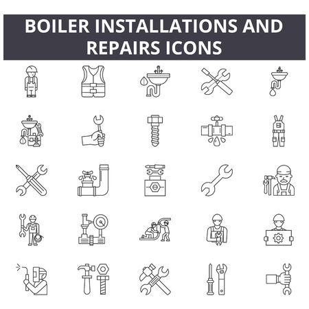 Illustrazione per Boiler installations and repairs line icons for web and mobile. Editable stroke signs. Boiler installations and repairs  outline concept illustrations - Immagini Royalty Free