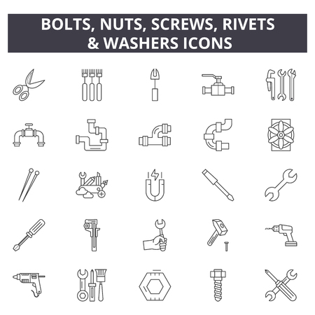 Illustration pour Bolts, nuts, screw, rivets & washers line icons for web and mobile. Editable stroke signs. Bolts, nuts, screw, rivets & washers  outline concept illustrations - image libre de droit
