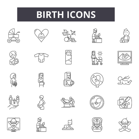 Illustration pour Birth line icons for web and mobile. Editable stroke signs. Birth  outline concept illustrations - image libre de droit