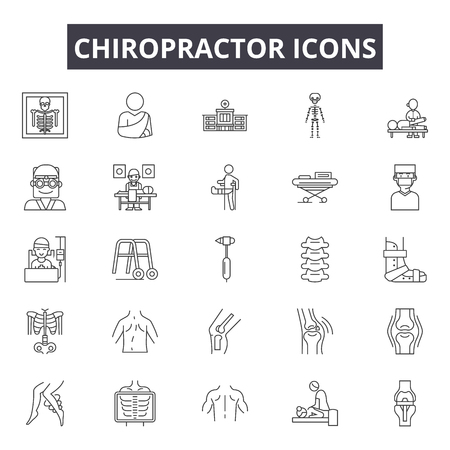 Illustrazione per Chiropractor line icons for web and mobile. Editable stroke signs. Chiropractor  outline concept illustrations - Immagini Royalty Free