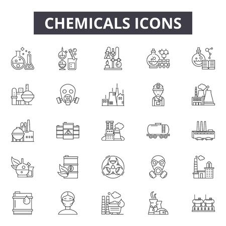 Ilustración de Chemicals line icons for web and mobile. Editable stroke signs. Chemicals  outline concept illustrations - Imagen libre de derechos