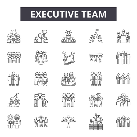 Illustrazione per Executive team line icons for web and mobile. Editable stroke signs. Executive team  outline concept illustrations - Immagini Royalty Free