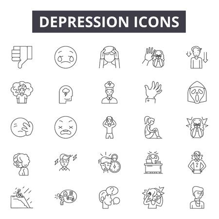 Illustrazione per Depression line icons for web and mobile. Editable stroke signs. Depression  outline concept illustrations - Immagini Royalty Free