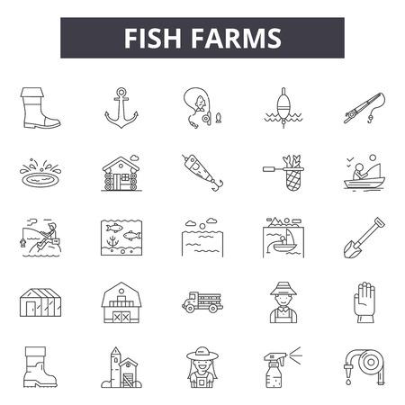 Ilustración de Fish farms line icons for web and mobile. Editable stroke signs. Fish farms  outline concept illustrations - Imagen libre de derechos