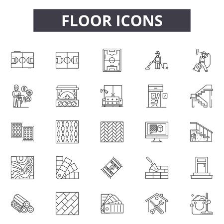 Ilustración de Floor icons line icons for web and mobile. Editable stroke signs. Floor icons  outline concept illustrations - Imagen libre de derechos