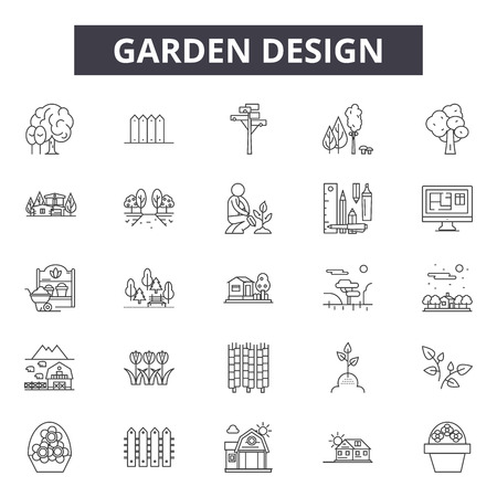 Ilustración de Garden design line icons for web and mobile. Editable stroke signs. Garden design  outline concept illustrations - Imagen libre de derechos