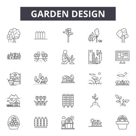 Illustration pour Garden design line icons for web and mobile. Editable stroke signs. Garden design  outline concept illustrations - image libre de droit