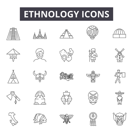 Ilustración de Ethnology line icons for web and mobile. Editable stroke signs. Ethnology  outline concept illustrations - Imagen libre de derechos