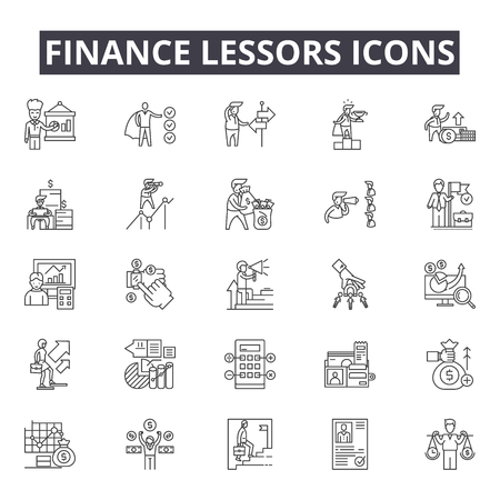 Illustration pour Finance lessors line icons for web and mobile. Editable stroke signs. Finance lessors  outline concept illustrations - image libre de droit