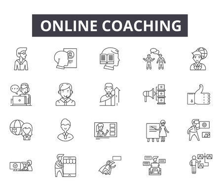 Illustrazione per Online coaching line icons for web and mobile. Editable stroke signs. Online coaching  outline concept illustrations - Immagini Royalty Free