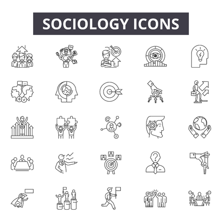 Illustrazione per Sociology line icons for web and mobile. Editable stroke signs. Sociology  outline concept illustrations - Immagini Royalty Free