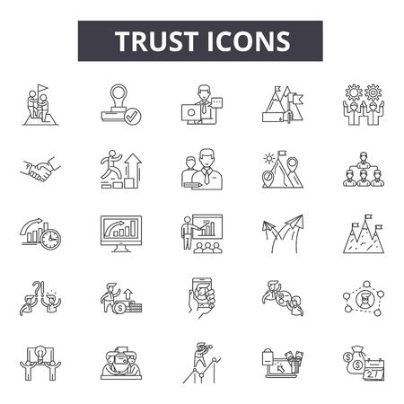 Ilustración de Trust line icons for web and mobile. Editable stroke signs. Trust  outline concept illustrations - Imagen libre de derechos