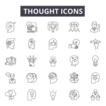 Illustration pour Thought line icons for web and mobile. Editable stroke signs. Thought  outline concept illustrations - image libre de droit