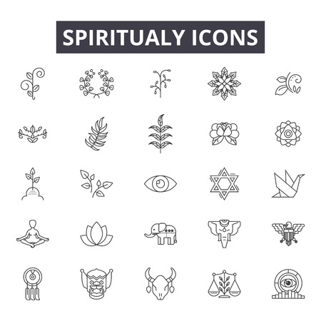Ilustración de Spiritual line icons for web and mobile. Editable stroke signs. Spiritual  outline concept illustrations - Imagen libre de derechos