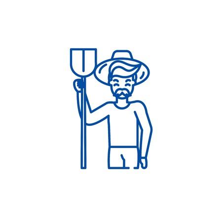 Illustration for Agronomist line concept icon. Agronomist flat  vector website sign, outline symbol, illustration. - Royalty Free Image