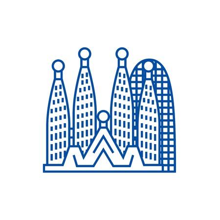 Ilustración de Barcelona,sagrada familia line concept icon. Barcelona,sagrada familia flat  vector website sign, outline symbol, illustration. - Imagen libre de derechos