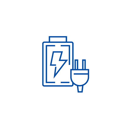 Illustration pour Battery charger line concept icon. Battery charger flat  vector website sign, outline symbol, illustration. - image libre de droit