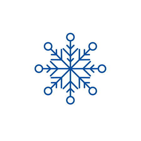 Illustration for Beautiful snowflake line concept icon. Beautiful snowflake flat  vector website sign, outline symbol, illustration. - Royalty Free Image