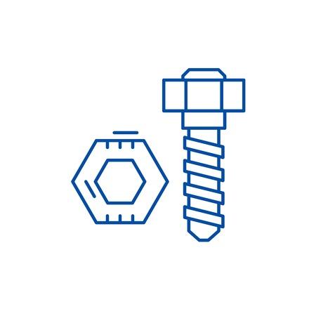 Illustration pour Bolt and nut line concept icon. Bolt and nut flat  vector website sign, outline symbol, illustration. - image libre de droit