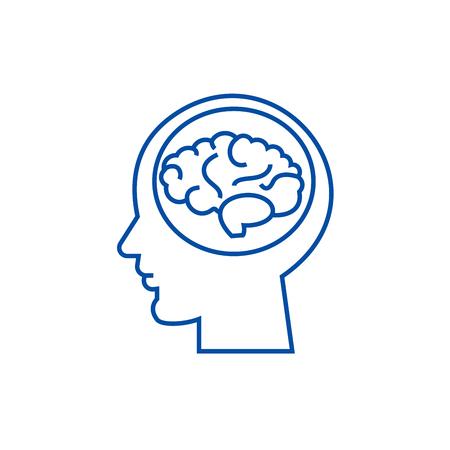 Ilustración de Brain in head,brainstorm, in mind line concept icon. Brain in head,brainstorm, in mind flat  vector website sign, outline symbol, illustration. - Imagen libre de derechos