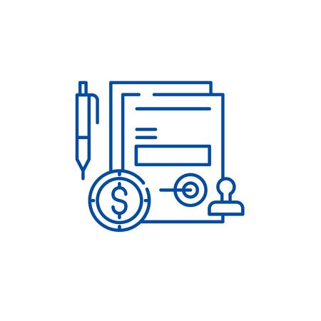 Illustration pour Business commitment line concept icon. Business commitment flat  vector website sign, outline symbol, illustration. - image libre de droit