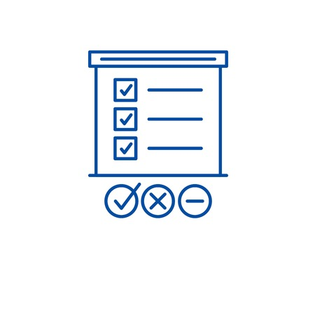 Illustration pour Survey list line concept icon. Survey list flat  vector website sign, outline symbol, illustration. - image libre de droit