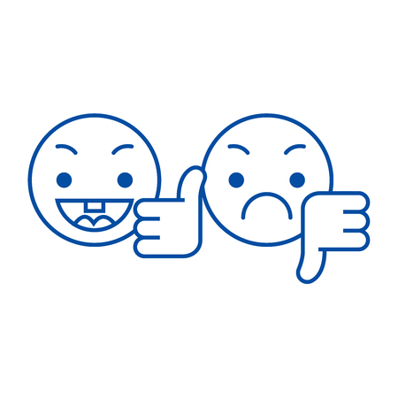 Illustration pour Thumbs up, down emoji line concept icon. Thumbs up, down emoji flat  vector website sign, outline symbol, illustration. - image libre de droit